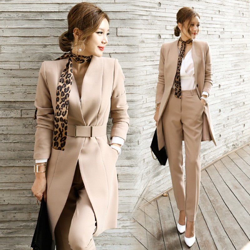 931742fd88740 Women Office Long Blazer and Pants with Belt Work Suit Two Piece Sets