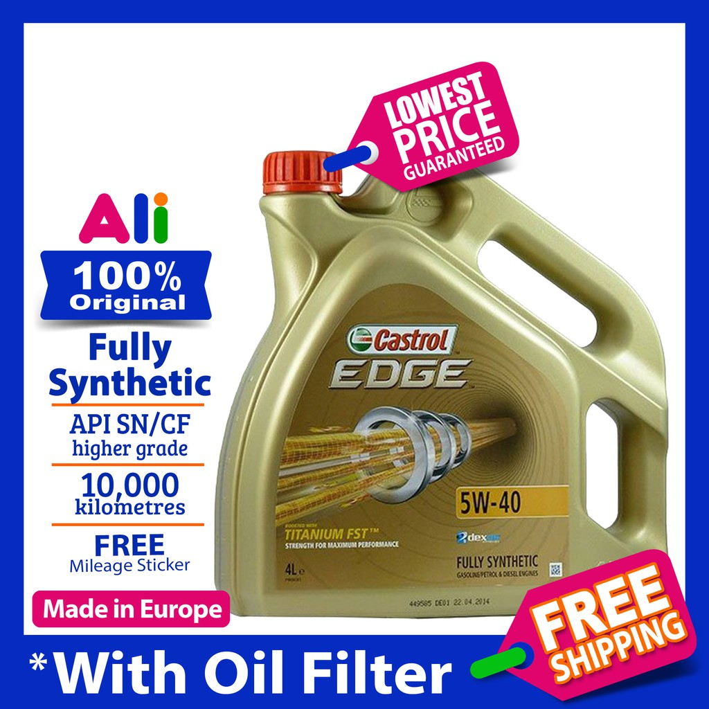 Castrol EDGE 5W-40 4L Fully Synthetic Original Engine Oil (Import) 5W40  Titanium FST (with Oil Filter)
