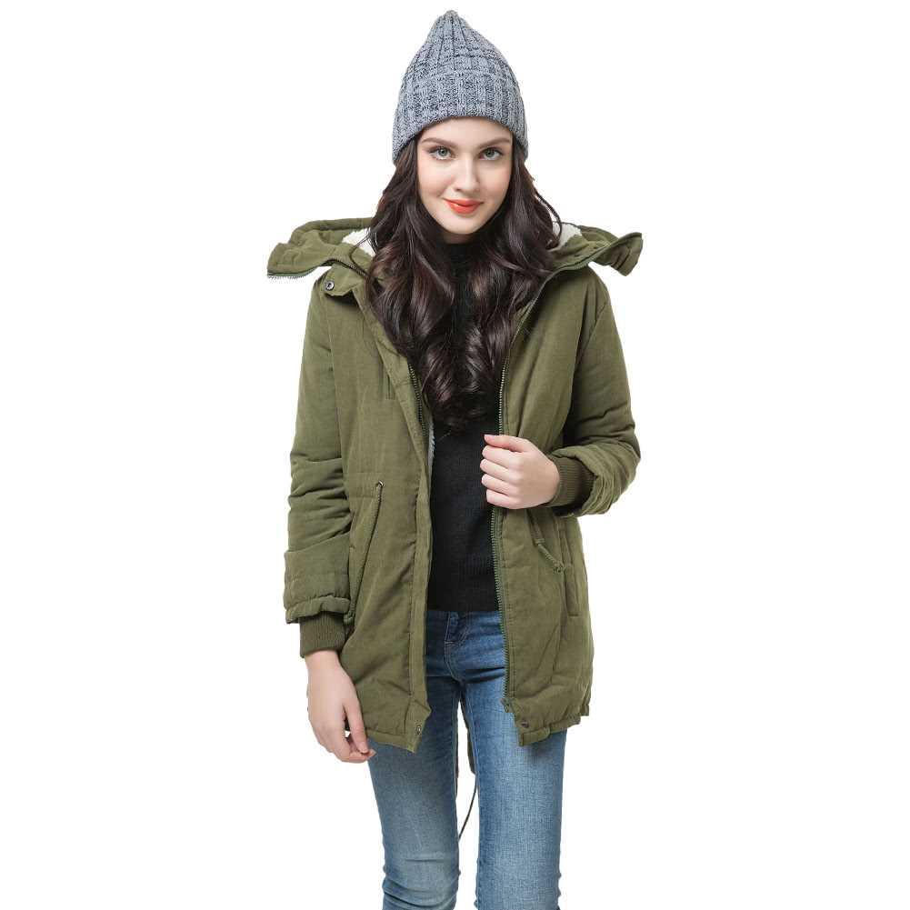 Winter Fashion Women\'s Fleece Parka Warm Coat Hoodie Overcoat Long Jacket (Army Green)