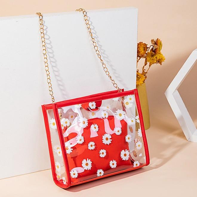 Beg Ladies Transparent Daisy Candy Colour Casual Sling Bag Shoulder Bag 少女雏花果冻色透明斜包 B00139
