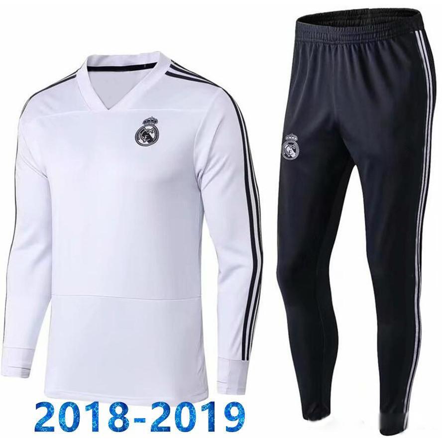 quality design 329d7 470aa 2018-19 Real Madrid White Men Long Sleeved Training Uniform Soccer Jerseys