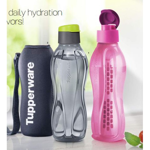 Tupperware Eco Bottle 750ml (2pcs) + Pouch (1pc) + FREE Fruit Infuser (1pc) For Set