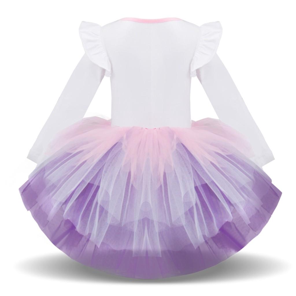 Lovely Children Kids Girl Long Sleeved Cartoon Animal Gauze Princess Tutu Dress