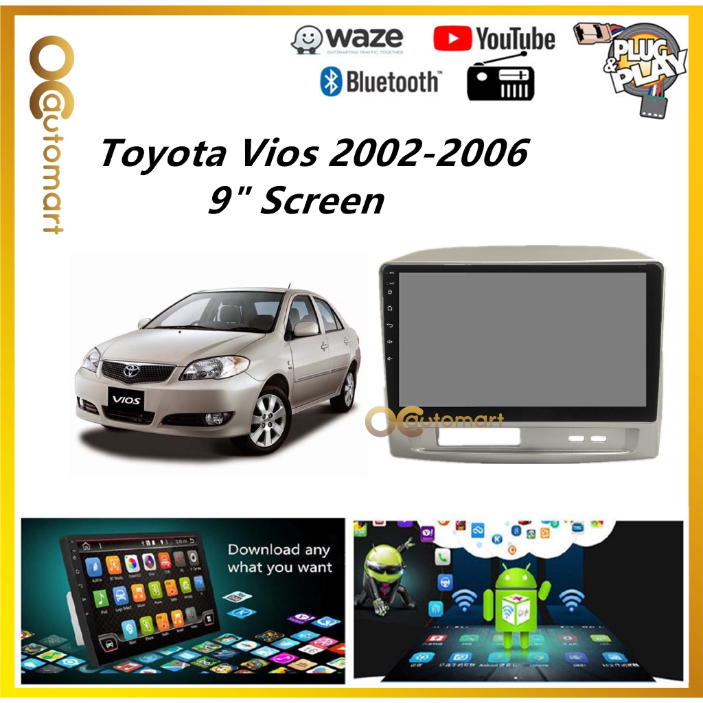 """Toyota Vios 2002-2006 Big Screen 9"""" Plug and Play OEM Android Player Car Stereo With WIFI Video Player/TouchScreen"""