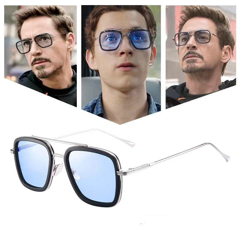 Zonnebril Mannen Men Tony Stark Aviation Sunglasses Fashion Avengers Glasses ...