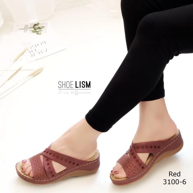 3100-6 รองเท้าส้นเตารีดลำลองเพื่อสุขภาพ งานเตารีด หน้าไขว้ งานปักรอบบอดี้ ใส