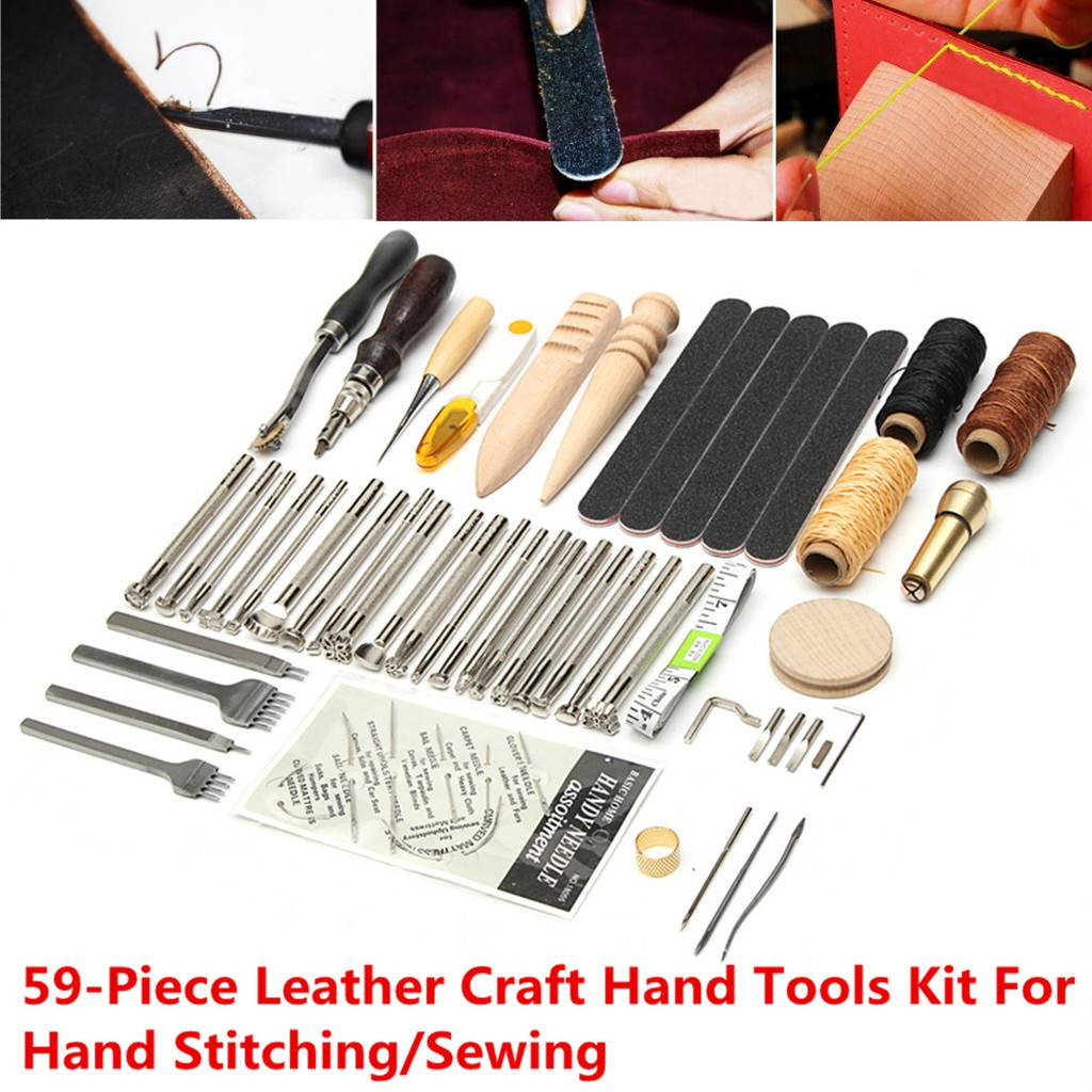 59X Leather Craft Hand Tools Kit For Hand Stitching Sewing Stamping Punch  Carve