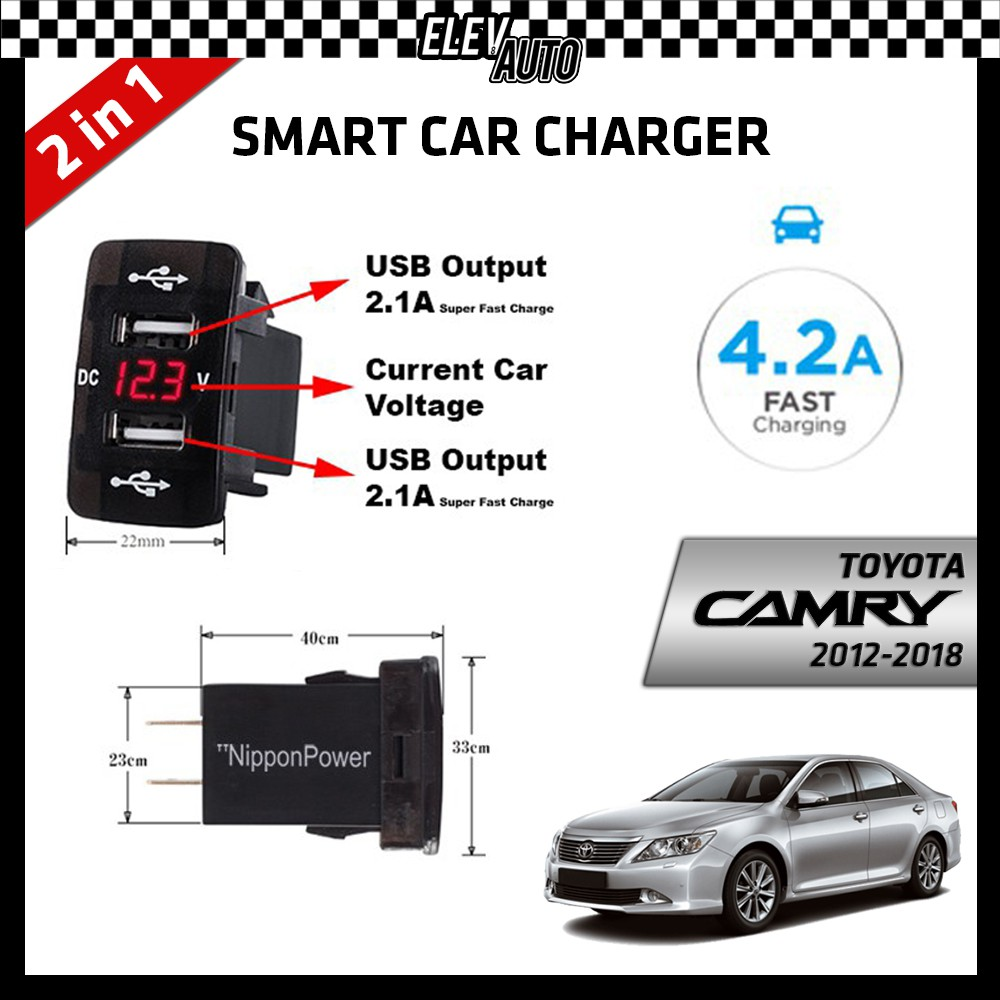DUAL USB Built-In Smart Car Charger with Voltage Display Toyota Camry 2012-2018