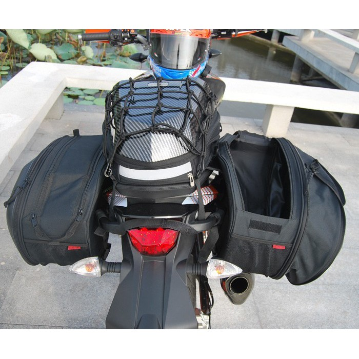 Universal fit Motorcycle komine Bags Luggage Saddle Bags with Rain Cover 36-58L