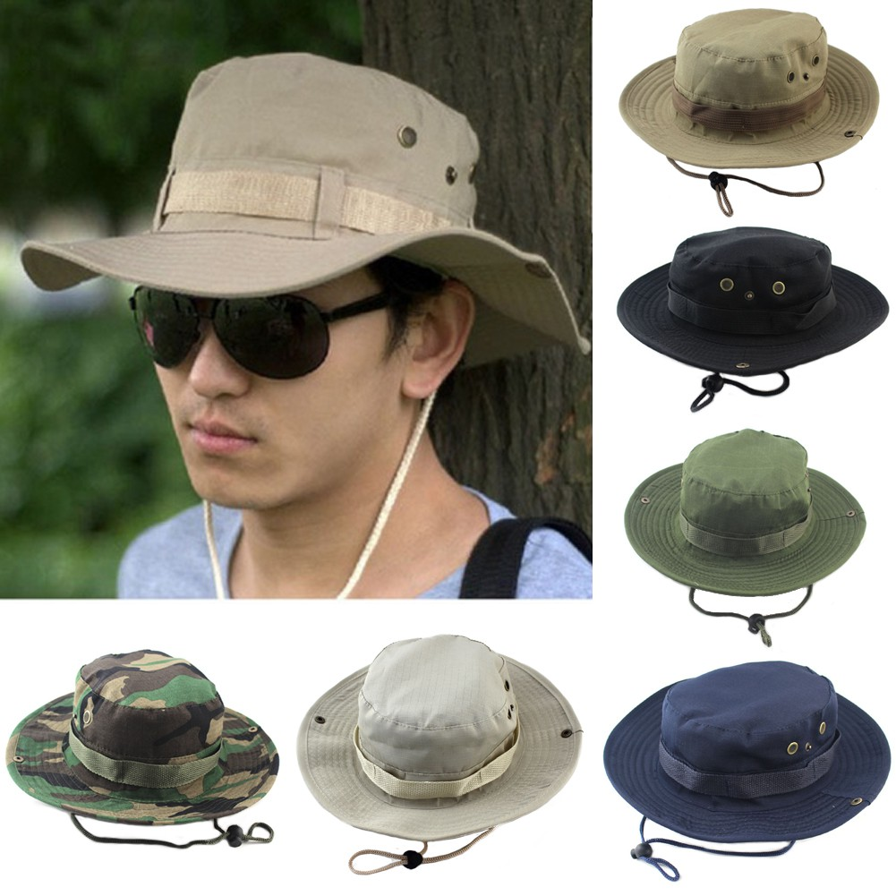 b36a5c4ba0f Men Jungle Military Boonie Bucket Hat Anti-Sun Wide Brim Fishing Hiking  Climbing