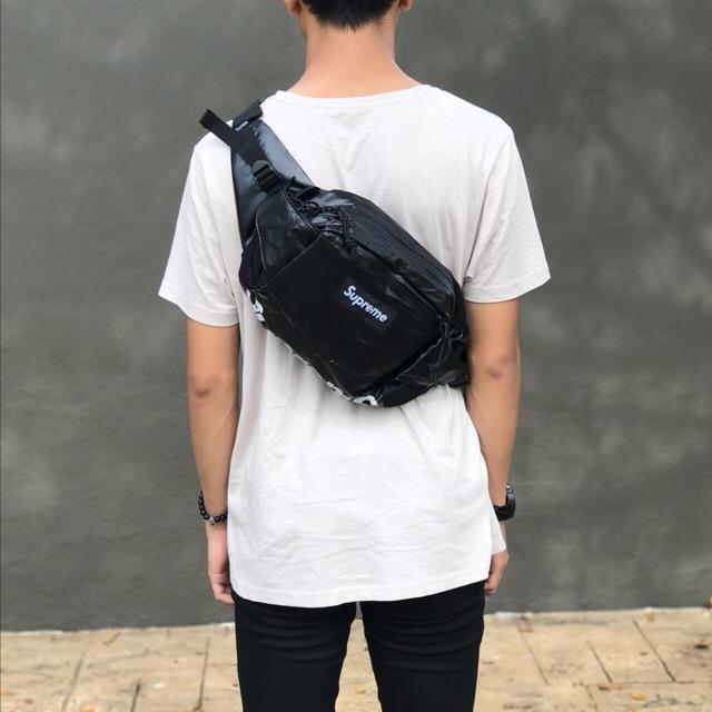 Supreme Waist Bag Ss18 On Body - Just Me And Supreme