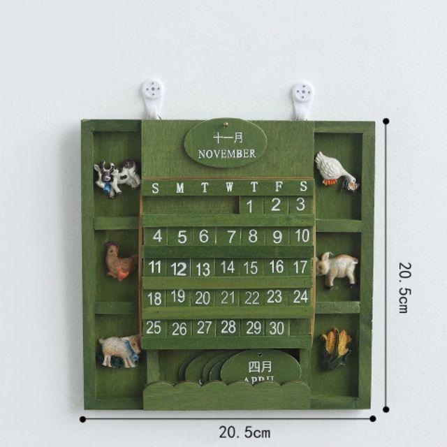 [ READY STOCK ]  Creative Wood Calendar Manual Reusable Craft Perpetual Wall Vintage Hanging Arts Animals Block