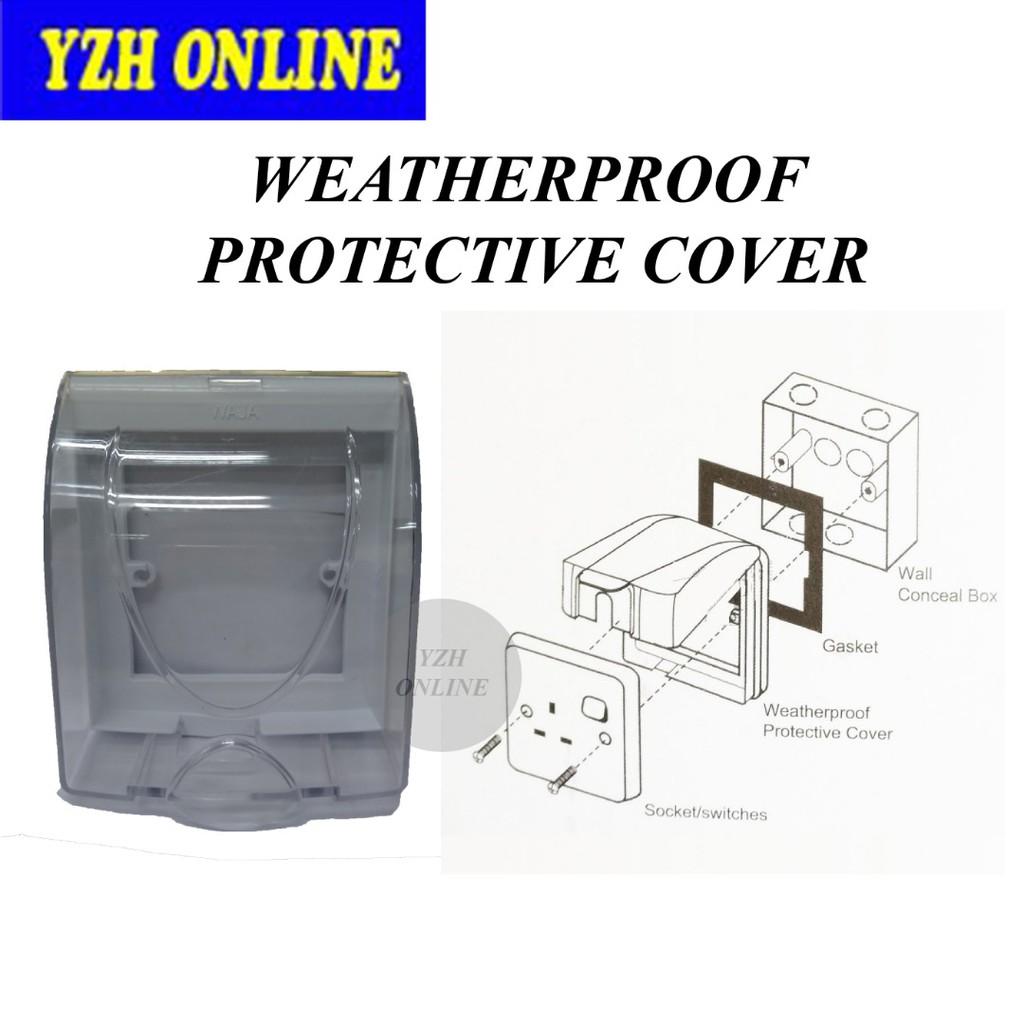 Weatherproof Switch Socket Cover dust Wet Protector Transparent Single 1GANG DIY