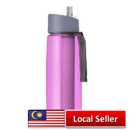 650ml Water Bottle with Purifier Filter for Camping Hiking Traveling (Pink)