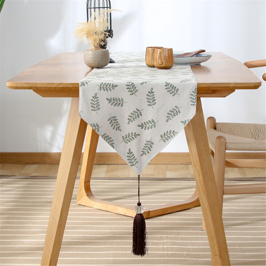 Modern Simple Green Leaf Rectangle Table Runners For Home Dining Table Decor Cotton Linen Table Runner Tv Cabinet Cover Shopee Malaysia
