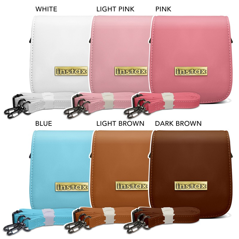 Mini 25 PU Leather Protective Bag with Strap for Fujifilm Instax Instant C
