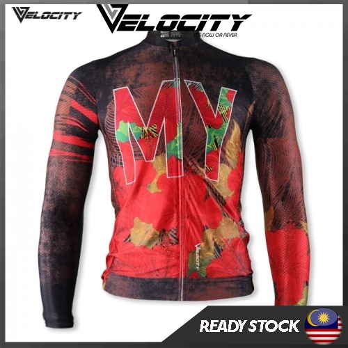 Velocity Malaysia Long Cycling Jersey-Red MY