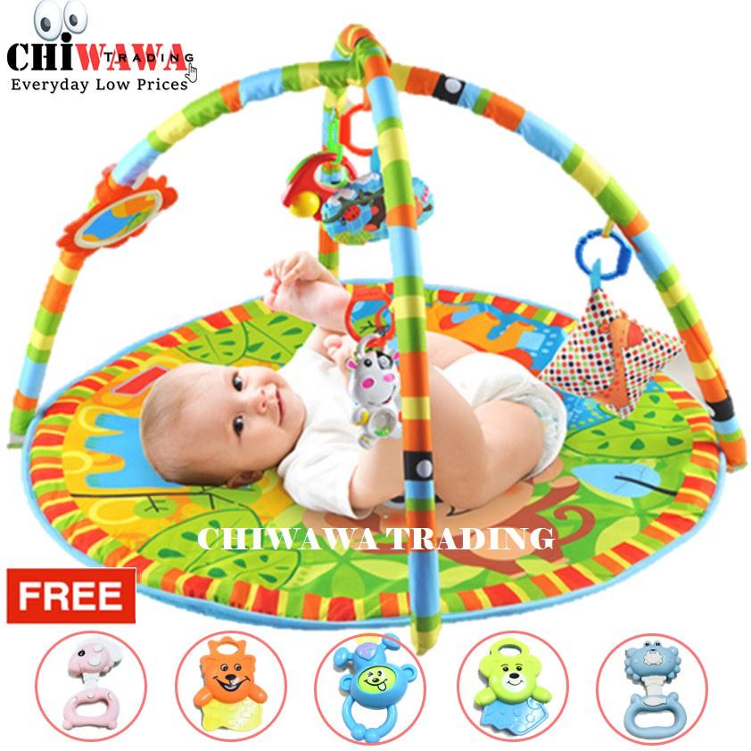 【Free: 1 x Toy Set】Baby Kids Play Gym Mat Crawling Game Playmats Rug Bed 2