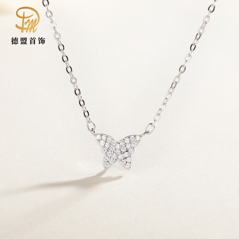 Sterling Silver Diamond Butterfly Necklace Chain