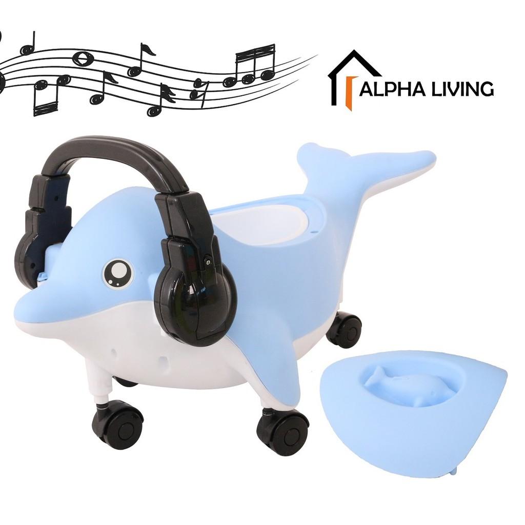 DJ Dolphin Potty Seat Kids Toilet Trainer with Wheels Music & Lights (BAY0100BU)