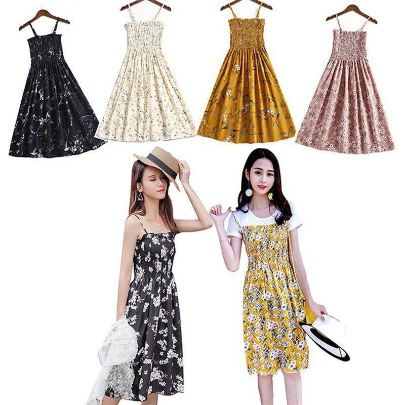 2607984e8ad0d Women Floral Sleeveless Off Shoulder Casual Beach Long Dress Ladies Summer  Wear