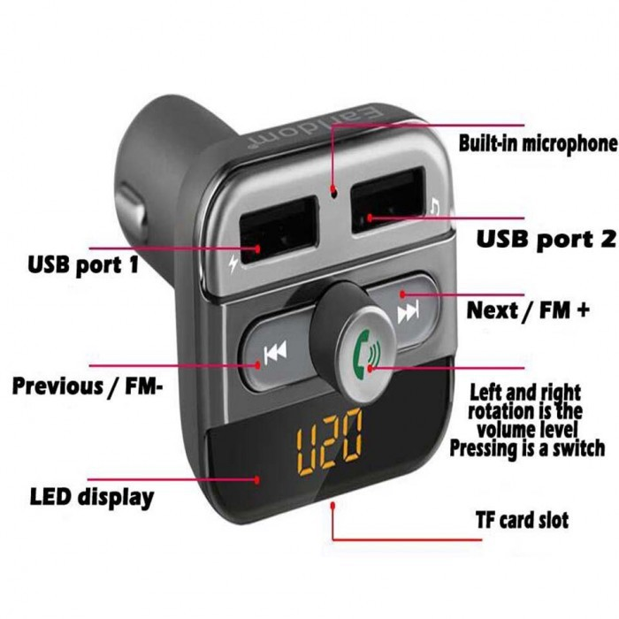 EARLDOM M11 WIRELESS MP3 PLAYER USB CAR CHARGER FM MODULATOR DUAL PORT FM TRANSMIT AUX SUPPORT HANDSFREE FAST CHARGING