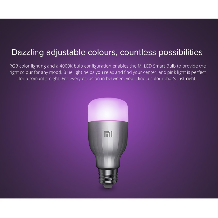 (Global)Mi Smart LED Bulb (Warm White) /LED Smart Bulb Essential (White and Color) Works with Google Assistance & Alexa
