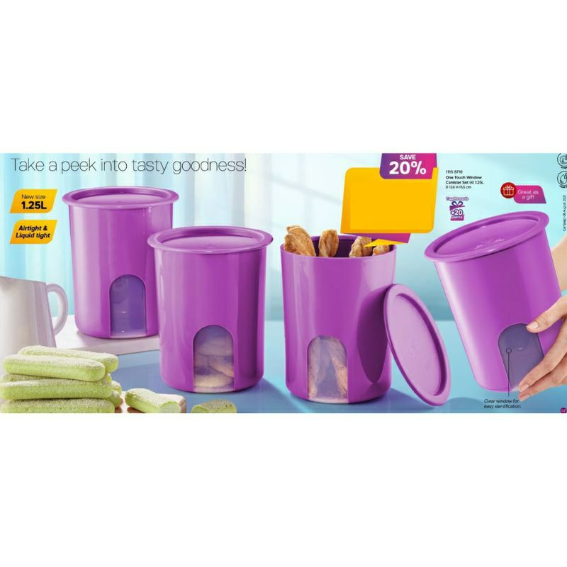 READY STOCK🔥Tupperware One Touch Window Canister 1.2L Purple Set Container (4pcs)