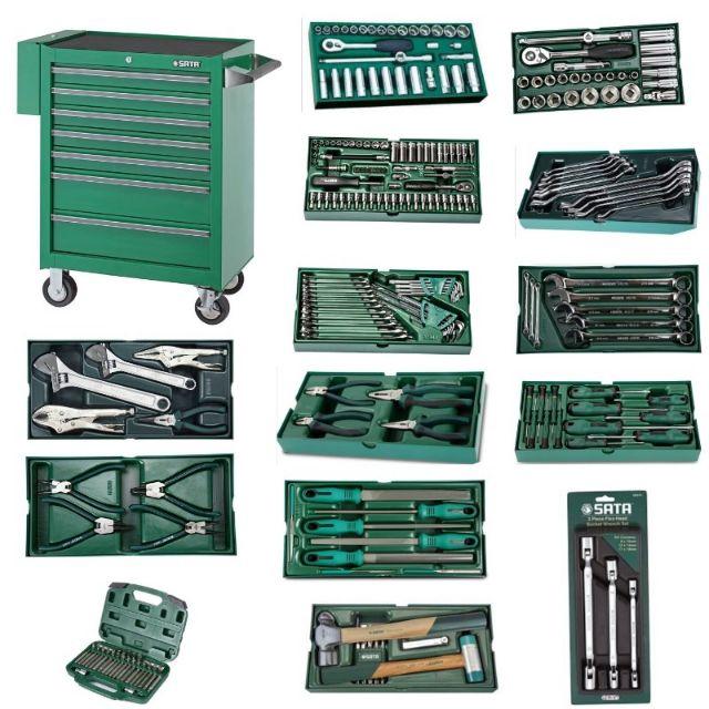Sata 95107P-15A 298pcs Tools 7 Drawer Tool Box Trolley Set