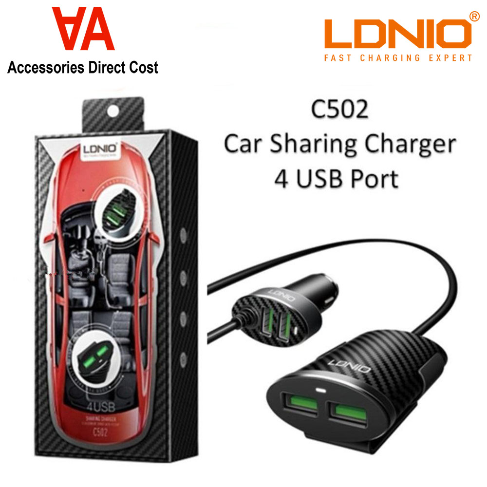 LDNIO C502 5.1A 4 Ports USB Car Charger With Extension Cable