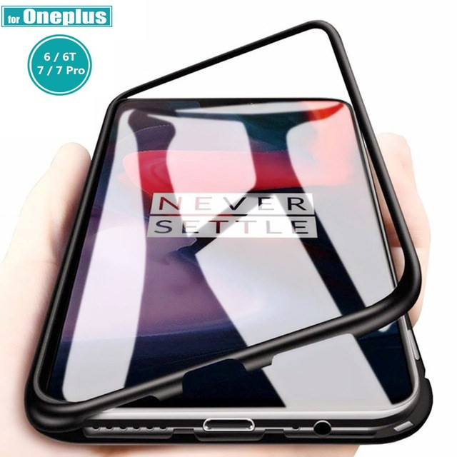 newest 40cad 6b9a6 Casing Oneplus 7 OnePlus 6T Oneplus 6 5T 1+6T 1+6 1+7 Pro Case Magnetic  Metal Frame Glass Cover