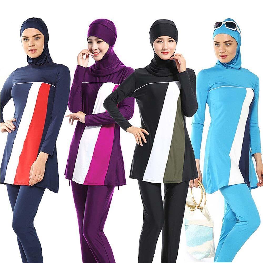 0c2ed230ac Women Printed Floral Modest Muslim Swimwear Hijab Muslimah Islamic Swimsuit