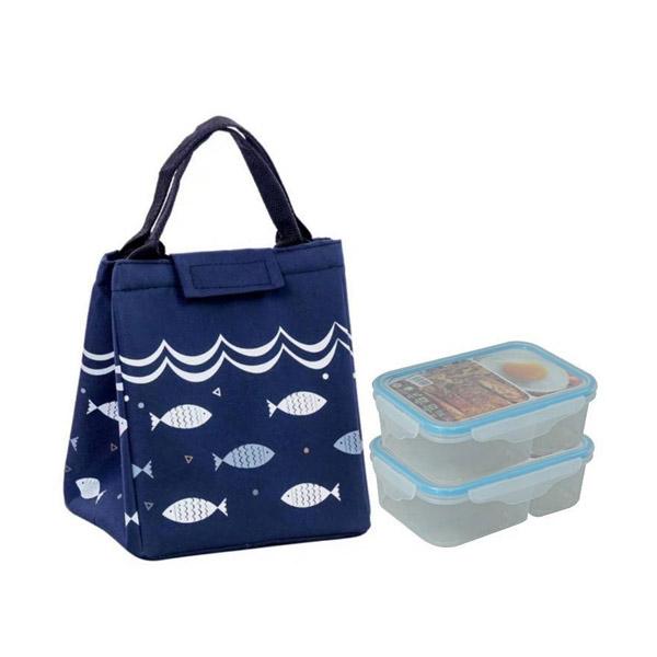 M KITCHEN  ชุดกล่องข้าว 2 ช่อง และ กระเป๋าเก็บอุณหถูมิ กล่องข้าว กล่องอาหาร กล่องถนอมอาหาร กล่องใส่อาหาร กระเป๋าเก็บร้อน