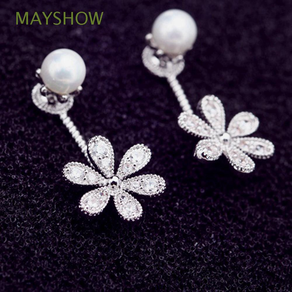 cd55a457e1 Jewelry Crystal Fashion Ear Stud Rhinestone Flower Earrings Pearl
