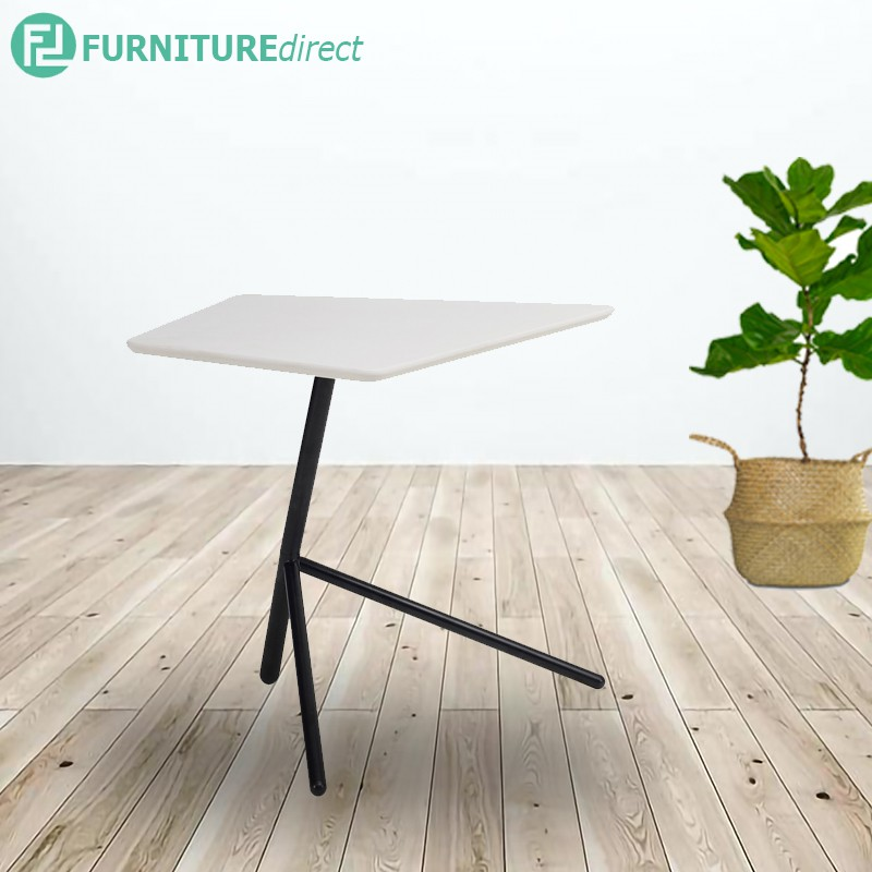 Kief Occasional Table in White Lacquered top with Matt Black Epoxy leg/ side table