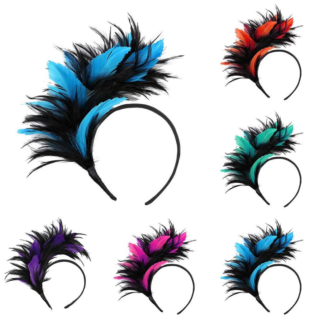 1PC Black Ostrich Feather Headpiece Headband Flapper Vintage