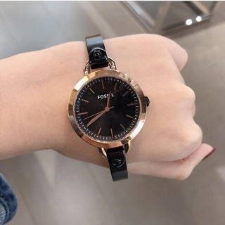 Fossil Ladies Watch Rose Gold Tone Black Shopee Malaysia