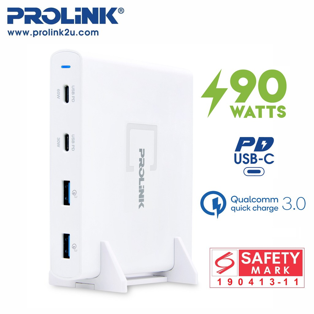 PROLiNK 4-Port USB Charger 90W PD3.0 Qualcomm 3.0 PDC49001