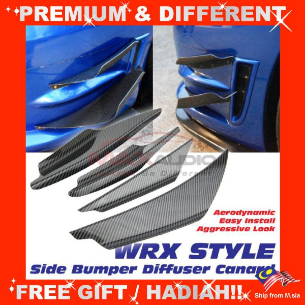 [FREE Gift] Universal Fitting Most Cars Vehicles WRX Style Front Bumper Shark Fin Wind Splitter Diffuser Canard (4pcs/Set)