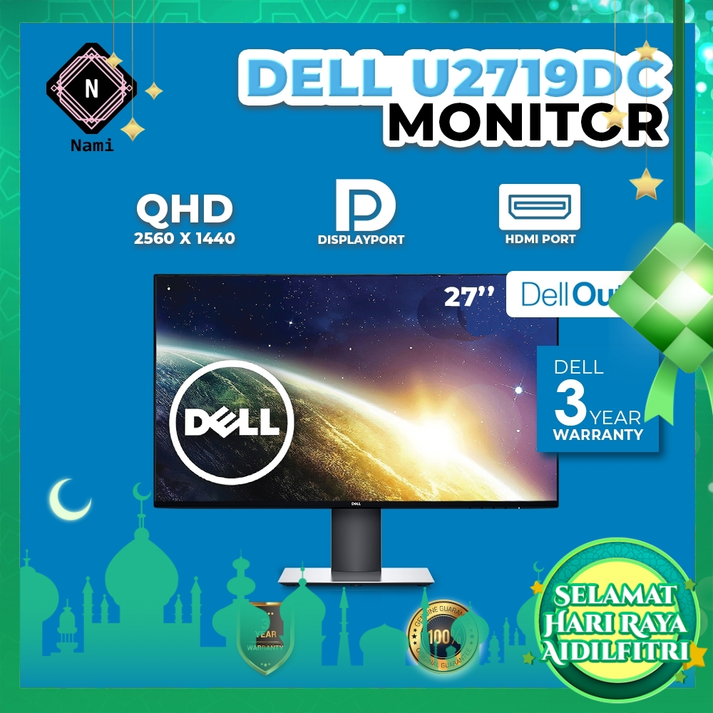 """Dell Outlet Refurbished - U2719DC 27"""" QHD Ultrasharp IPS LED Monitor - 3 Years WTY by Dell"""