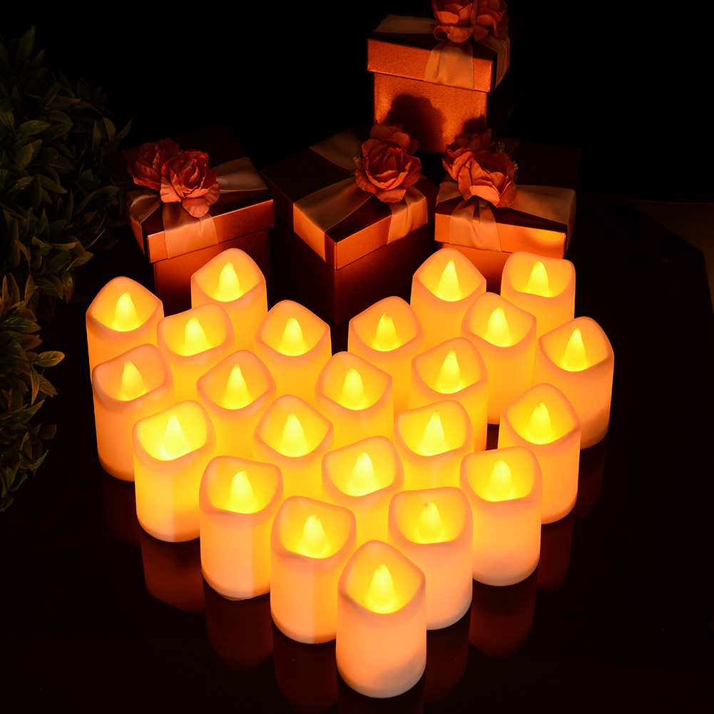 24pcs Flameless Led Tea Candles Battery Powered Flickering Fake Candle Flamewax Candleled Electronic Circuit Shopee Malaysia