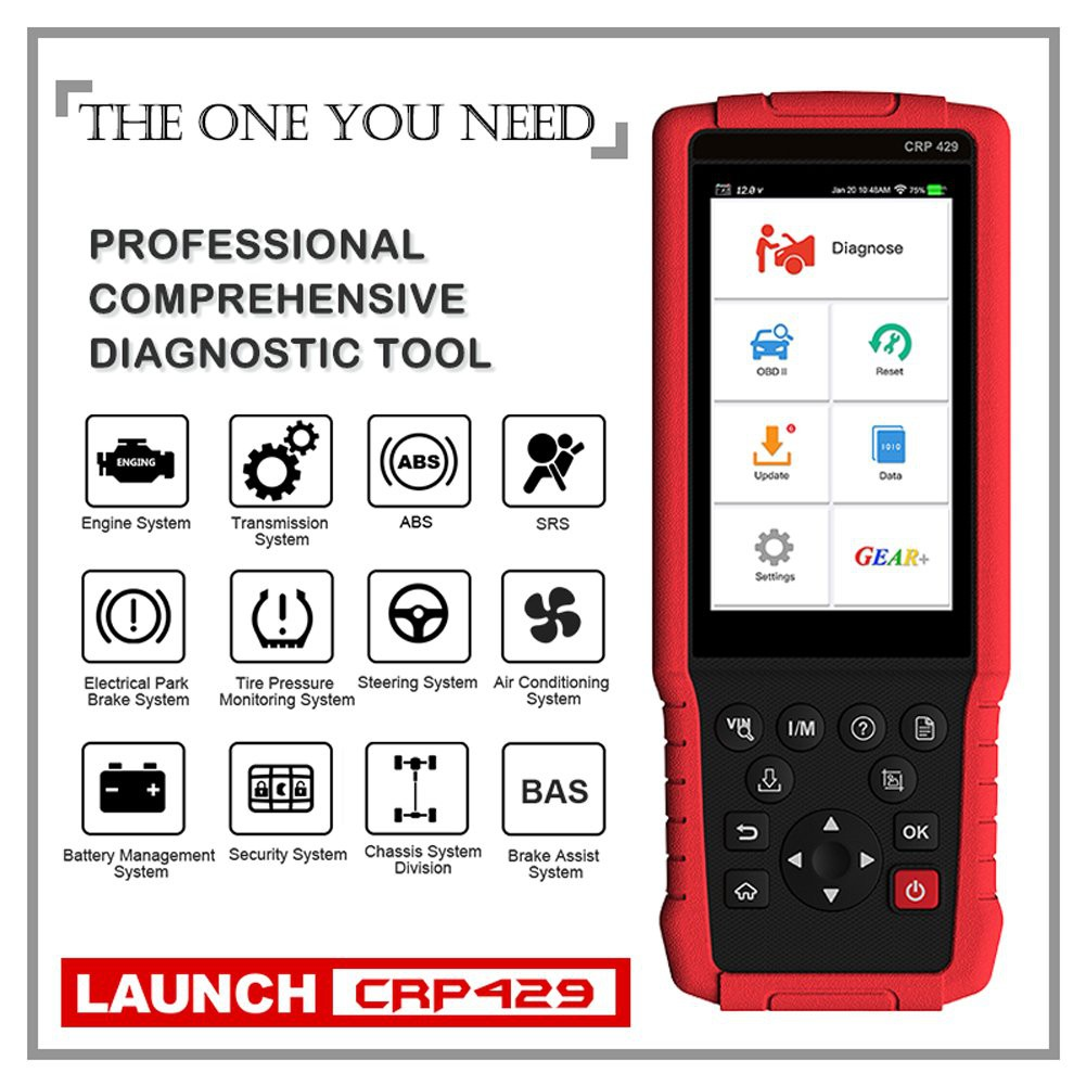 Launch CRP429 OBD2 Scanner Scan Tool Full System Code Reader 8 Reset  Functions of ABS Brake Bleed, Oil Reset, EPB, BMS
