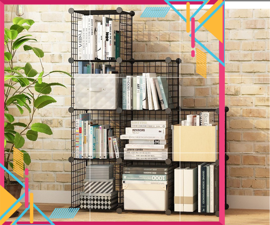 [Malay Ready Stock] DIY 9 Cube Metal Wire Multi-Function Storage Rack