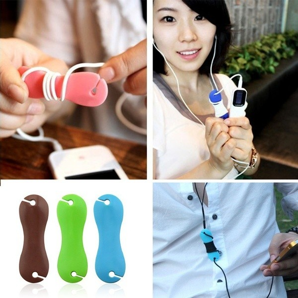 2pcs Portable  Rubber Dog Bone Earphone Cord Cable Organizer Winder Wra Gadgets
