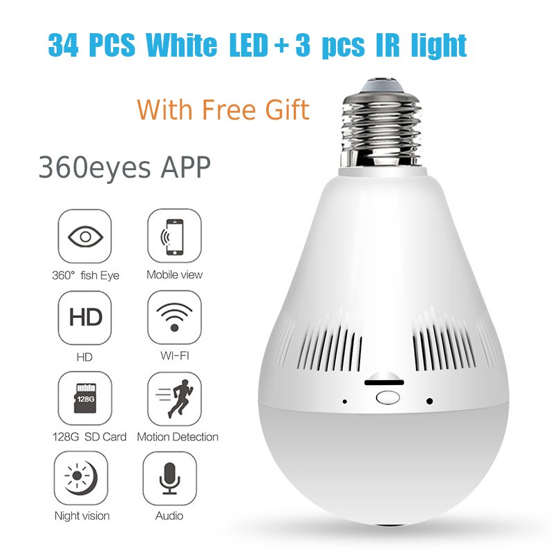 IR+White VR Fisheye Lens E27 Security P2P 1080P HD Lamp Bulb Light Wireless  IP Camera CCTV