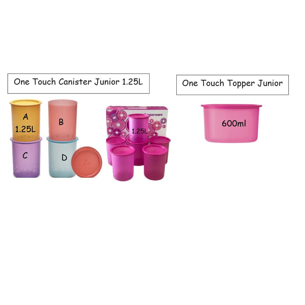 Tupperware One Touch Canister Topper- 600ML/Camellia One Touch Canister 1.25L/One Touch Polka Dots 1.25L