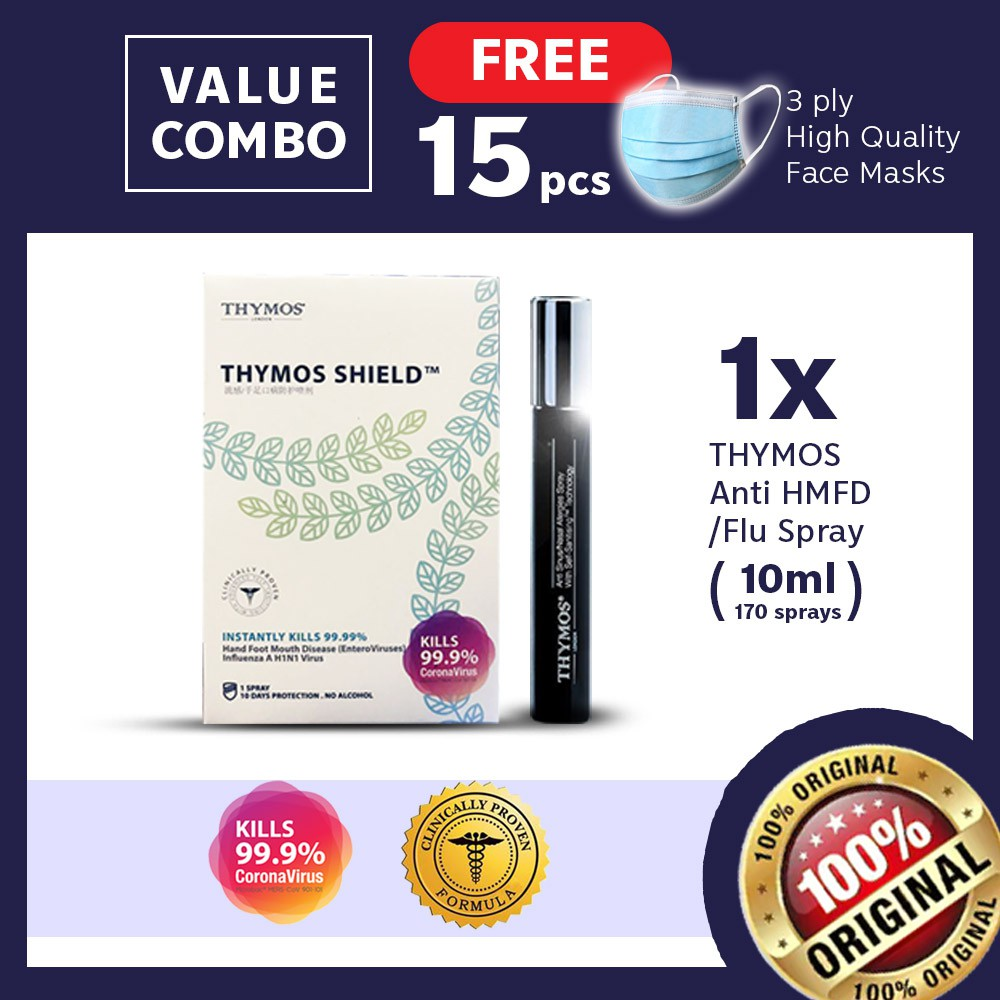 【Clinically Proven Sanitiser FREE 15 Face Cover】10mL Thymos- H1N1, Corona, HFMD