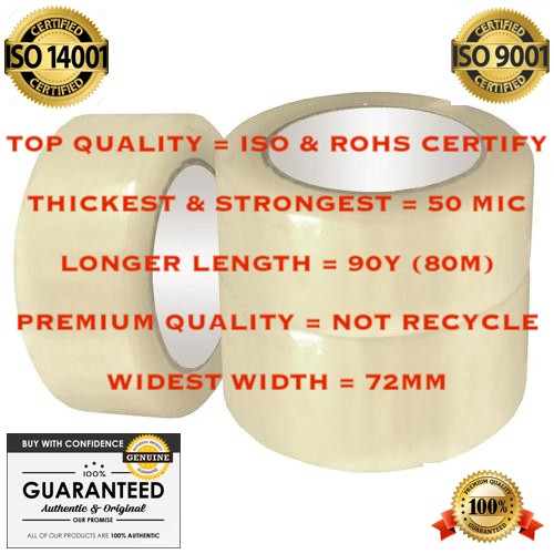 """[WIDEST & THICKEST] """"72MM x 90Y (80M) x 50 MICRON"""" OPP CLEAR TRANSPARENT ADHESIVE PACKING TAPE PITA x 1 CTN (64 ROLLS)"""