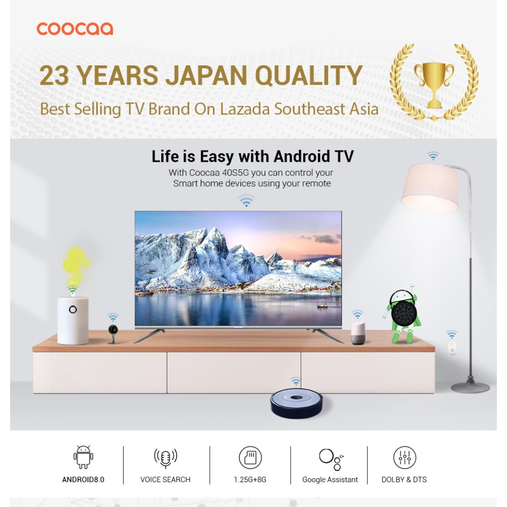 COOCAA 40 Inch Android Smart Frameless FHD LED TV - Slim Wifi Model