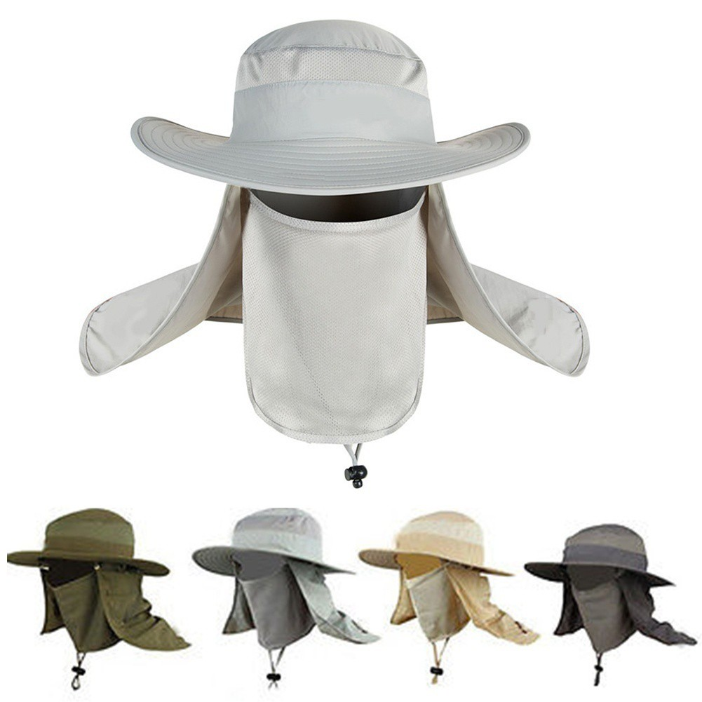 a39bdcd9949ff Outdoor UV Protection Ear Flap Neck Cover Sun Hat Cap Fishing Hunting Hiking